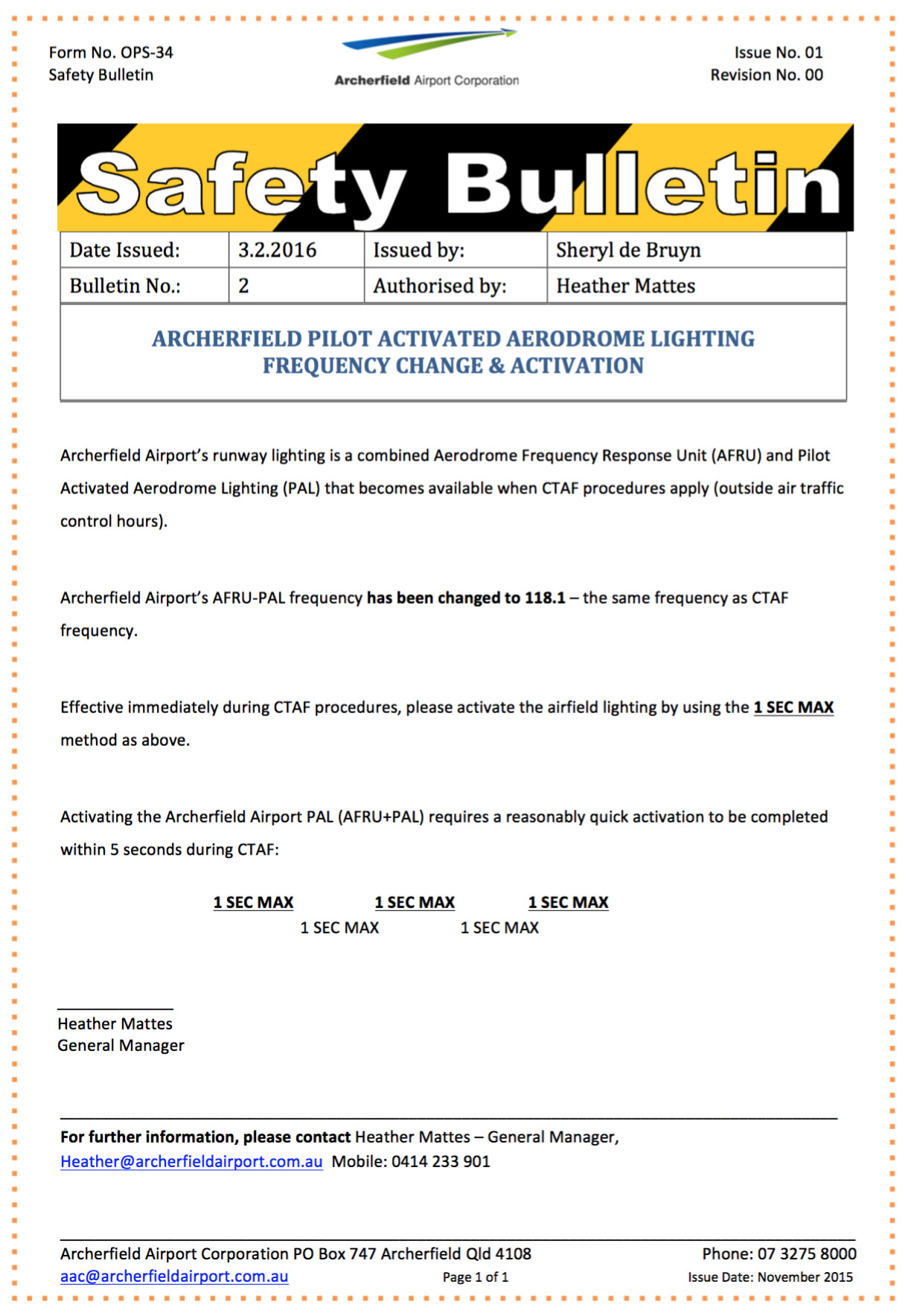 Safety Bulletin - Click to Download in PDF