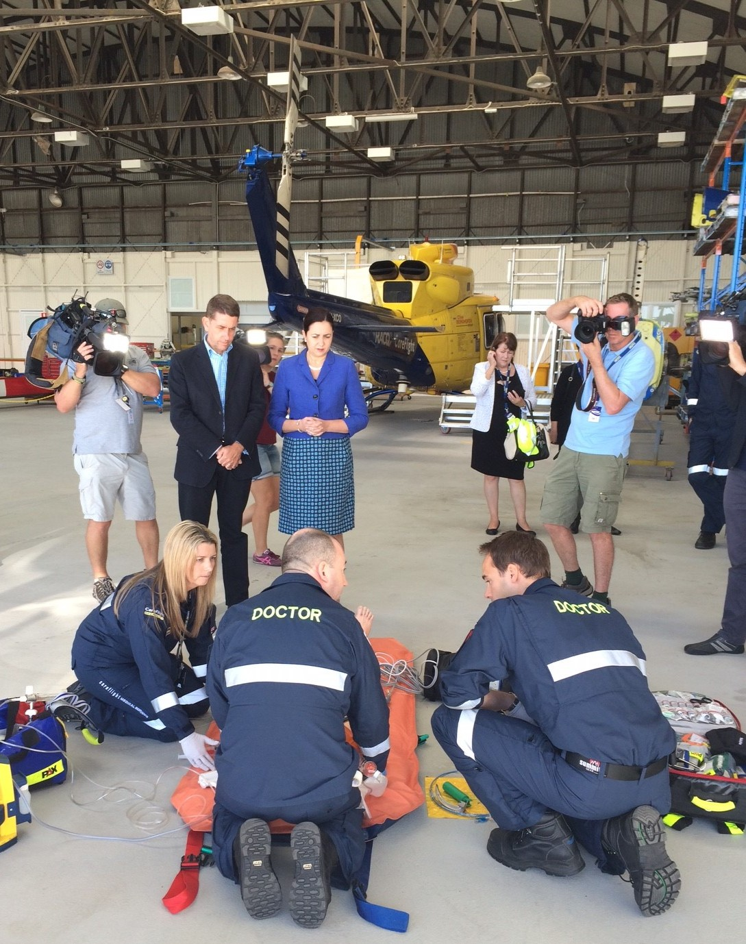 Specialist CareFlight staff conduct a demonstration for the Premier and the Minister for Health at the media announcement at CareFlight's Archerfield Airport facility.